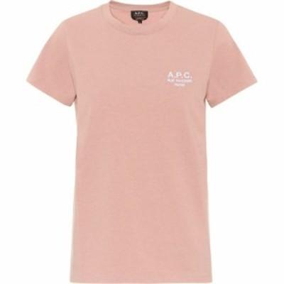 アーペーセー A.P.C. レディース Tシャツ トップス logo cotton t-shirt Vieux Rose