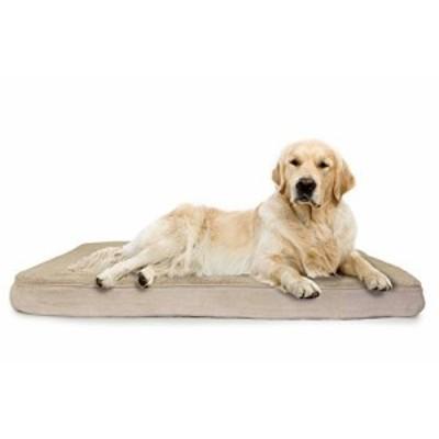 Furhaven Pet Terry & Suede Cooling Gel Top Memory Foam Mattress Pet Be(中古品)