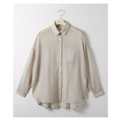 シャツ 大きいサイズ レディース シアー 透け素材 3L/4L ニッセン nissen