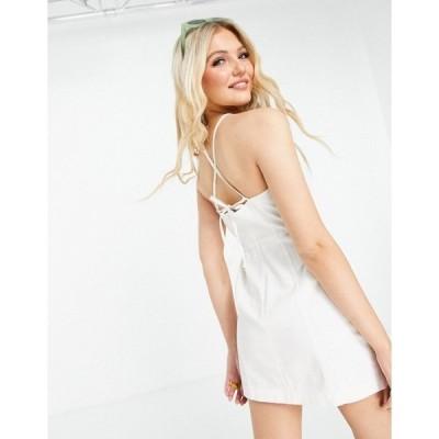エイソス レディース ワンピース トップス ASOS DESIGN soft denim halterneck slip dress in white White