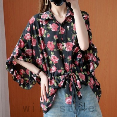 シャツレディース半袖夏ブラウス花柄ウエスト紐大きいサイズ折襟ゆったり体型カバー