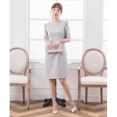 【ドレス スター】 ペタル(チューリップ)スリーブシンプルワンピース レディース グレー Lサイズ DRESS STAR