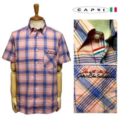 セール CAPRI カプリ マリン刺繍ワッペン 清涼 綿麻 半袖シャツ サーモン