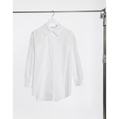 インザスタイル レディース シャツ トップス In The Style x Megan Mckenna longline shirt in white