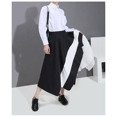 レディーススカート デザインスカート アシメデザイン モノトーン ロング丈 ブラックホ ワイト フリーサイズ