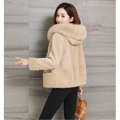 ◆送料無料◆秋と冬の新しい 模造 毛皮の子羊の豪華なジャケット 日系 女性  ゆるい  裏起毛  コート フード付きの羊の毛刈りのジャケット