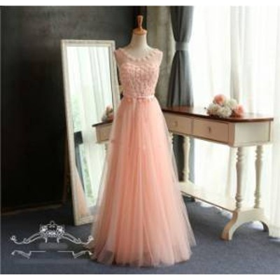 ドレス ワンピース レース ロング丈 ノースリーブ 20代 ピンク 大人可愛い ガーリー 春夏 結婚式 お呼ばれ a298