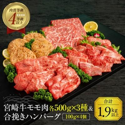 宮崎牛モモ肉3種(各500g×3種)&合挽きハンバーグ(100g×4個)セット《合計1.9kg以上》