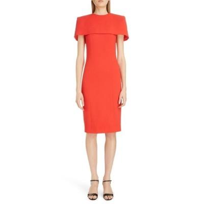 ジバンシー ワンピース トップス レディース Wool Sheath Dress with Removable Cape Red