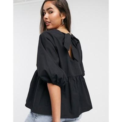 エイソス レディース シャツ トップス ASOS DESIGN long sleeve cotton smock top with pep hem in black