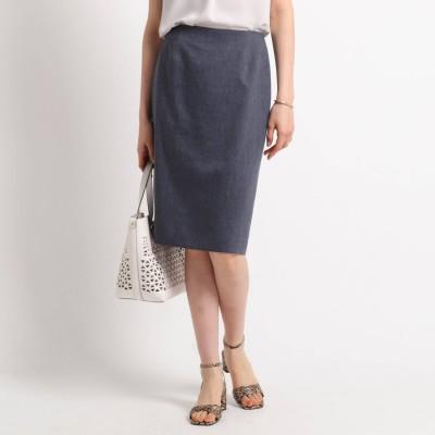 インディヴィ INDIVI 【ハンドウォッシュ】麻混ライトタイトスカート (ネイビー)