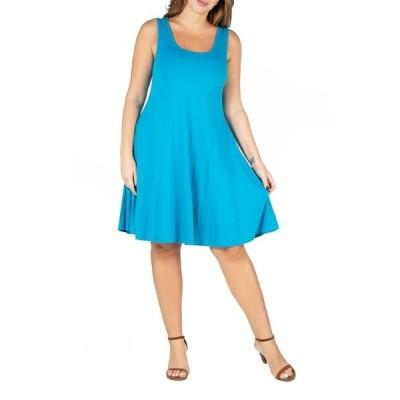 24セブンコンフォート ワンピース トップス レディース Women's Plus Size Fit and Flare Tank Dress Turquoise