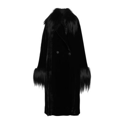 エリカ カヴァリーニ ERIKA CAVALLINI コート ブラック 44 レーヨン 75% / ナイロン 25% / 山羊革 コート
