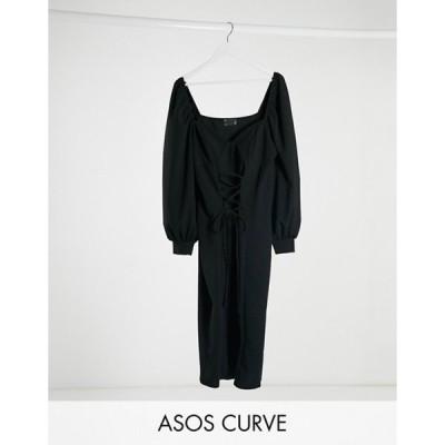エイソス レディース ワンピース トップス ASOS DESIGN Curve mini dress with cup seam and lace up front in black
