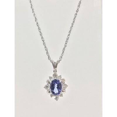 ネックレス 天然ゾイサイト(タンザナイト) 天然ダイヤモンド YA63545