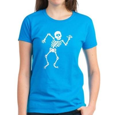 レディース 衣類 トップス CafePress - Dancing Skeleton Women's Dark T Shirt - Women's Dark T-Shirt Tシャツ