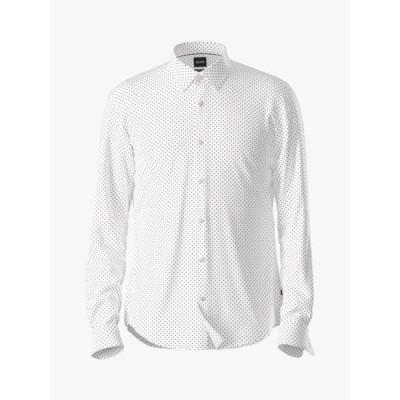 ヒューゴボス シャツ メンズ トップス BOSS Ronni Spot Print Slim Fit Shirt, Medium Pink
