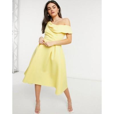 エイソス ASOS DESIGN レディース パーティードレス ミドル丈 ワンピース・ドレス Drape Fallen Shoulder Midi Skater Prom Dress In Lemon レモン