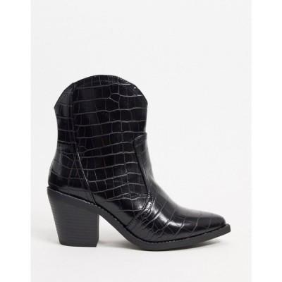 ロンドン レーベル London Rebel レディース ブーツ ウェスタンブーツ シューズ・靴 western boots in black croc ブラック