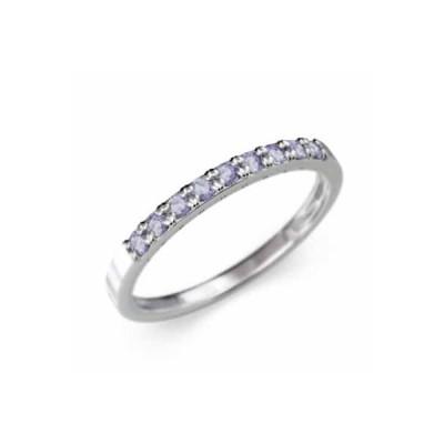 k10ホワイトゴールド 平打ち 指輪 ハーフ エタニティリング 12月の誕生石 タンザナイト 幅約1.7mmリング 細め