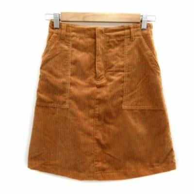 【中古】オリーブデオリーブ OLIVE des OLIVE スカート 台形 ひざ丈 無地 コーデュロイ M 茶 ブラウン レディース