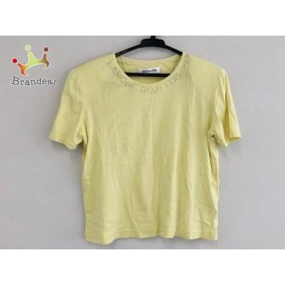 イタリヤ 半袖Tシャツ サイズ9 M レディース - イエロー クルーネック/ラインストーン 新着 20200806