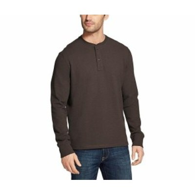 Bass バス ファッション アウター G.H. Bass & Co. Mens Gray Size Large L Long Sleeve Henley Shirt