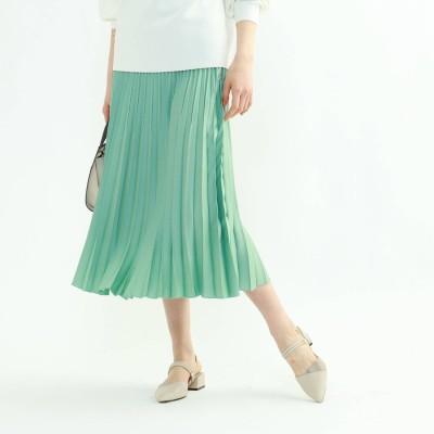 インディヴィ INDIVI 「L」【WEB限定カラー】ドレープサテン切り替え風プリーツスカート (ライトグリーン)