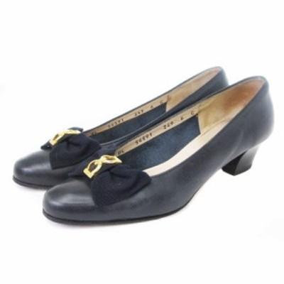 【中古】サルヴァトーレフェラガモ パンプス ガンチーニ リボン レザー 紺 ネイビー 6C シューズ 靴 ■VP レディース