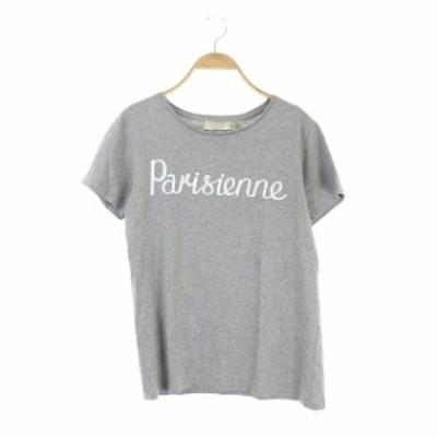 【中古】メゾンキツネ MAISON KITSUNE Parisienne Tシャツ カットソー 半袖 ロゴ S グレー /AO ■OS ■SH レディース