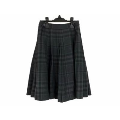 バーバリーロンドン スカート サイズ36 M レディース グレー×黒×ダークグレー チェック柄/プリーツ/シルク混【中古】20201210