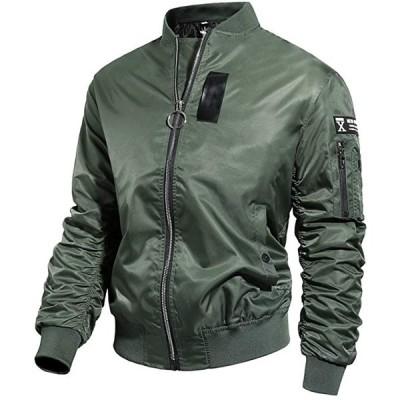 ジャケット MA-1 メンズ ミリタリー ブルゾン 厚手 ジャンパー 中棉 アウター 秋 冬 春 防寒 防風 撥水(グリーン, M)