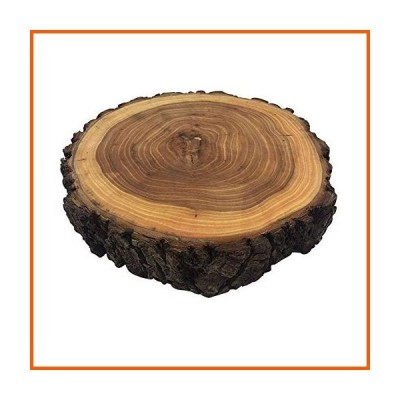 10Inches Dia x2Inches Thickness Elmwood Wooden bark Cake Stand Excellent for Wedding Centerpiece, DIY Projects, Table Chargers, or Country D