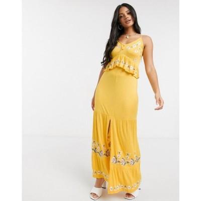 エイソス ASOS DESIGN レディース ワンピース キャミワンピ ワンピース・ドレス Cami Button Front Maxi Dress With Embroidery In Yellow イエロー