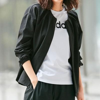 ベルーナ <adidas>シアサッカーノーカラージャケット ブラック S レディース