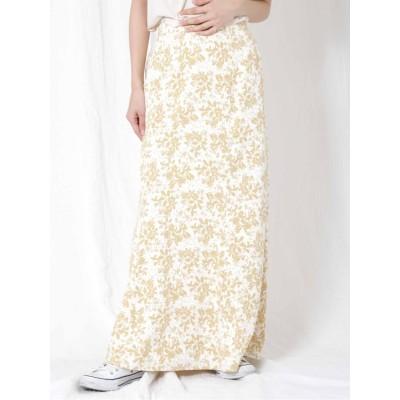 【La】フラワープリントフィットマキシスカート