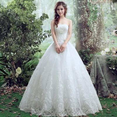 ウエディングドレス 花嫁 ドレス 結婚式 二次会 ウェディングドレス 安い プリンセス ショール 白 ロングドレス ブライダル 姫系 大きいサイズ
