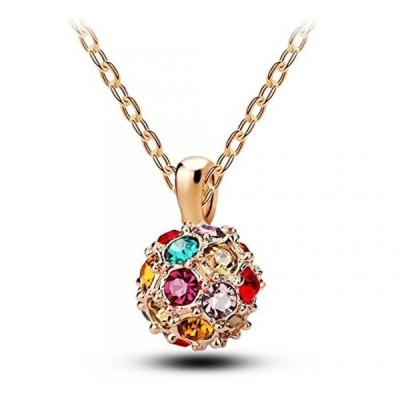 スワロフスキー ジュエリー アクセサリー Multicolored 18k White/rose Gold Plated Zircon Austria Crystal Chain Ball Pendant Necklace Women Jewelry
