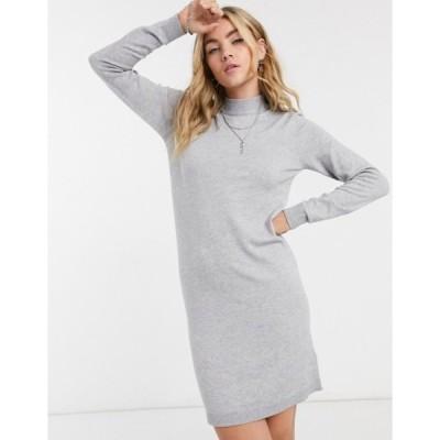 オブジェクト レディース ワンピース トップス Object Thess knit mini sweater dress in gray