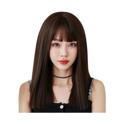 ウィッグ ストレート セミロング ULSTAR フルウィッグ 自然 レディース wig ぱっつん前髪 小顔効果 耐熱 (深茶色)