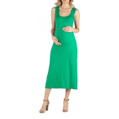24セブンコンフォート ワンピース トップス レディース Scoop Neck Maternity Maxi Dress with Racerback Detail Green
