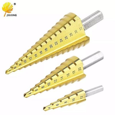 4-12 ミリメートル 4-20 ミリメートル 4-32 ミリメートル HSS 4241 鋼大ステップコーン チタン コーティングされた金属