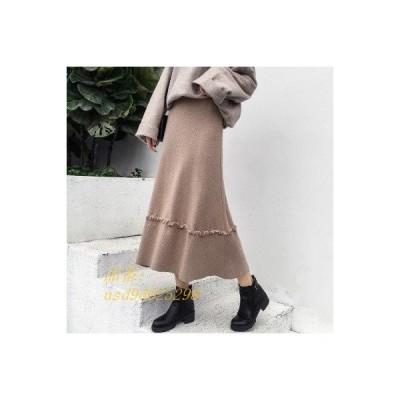 ニットスカート 優雅 ウエストゴム ボトムス フレアスカート ティアードスカート 無地 ロング丈 上品 レディース Aライン エレガント シンプル