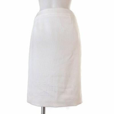 【中古】未使用品 アンタイトル UNTITLED タグ付き スカート 膝丈 タイト タック リネン混 白 1 ボトムス レディース