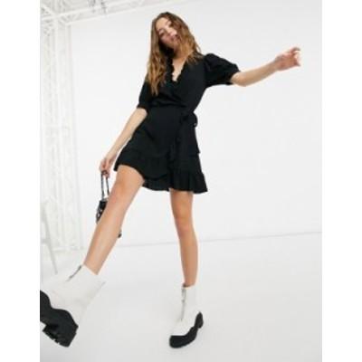 トップショップ レディース ワンピース トップス Topshop ruffle detail wrap mini dress in black Black