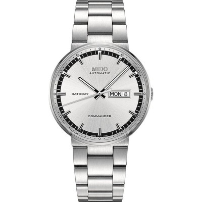 Mido M0144301103100 Watch Commander II Mens Silver Dial M014.430.11.03