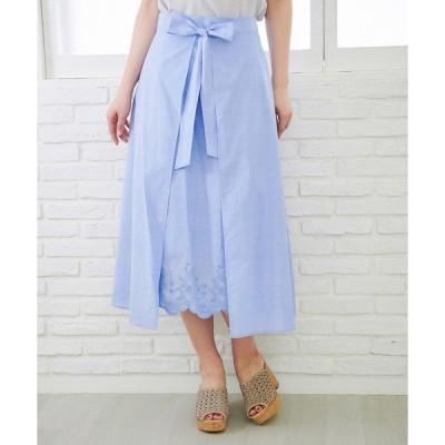 スカート 無地/ストライプ裾刺繍スカート