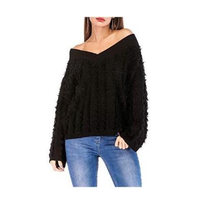 Flygo Women's Fall Off The Shoulder V Neck Velvet Knit Sweater Sweatshirt (