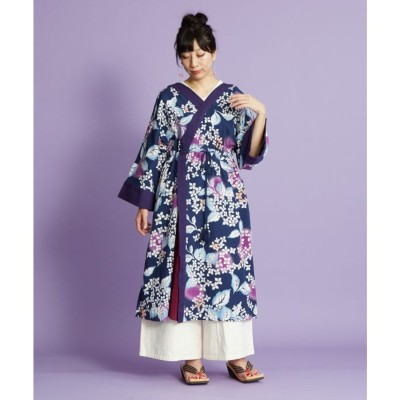 【カヤ】紫陽花 浴衣ならいワンピース ネイビー