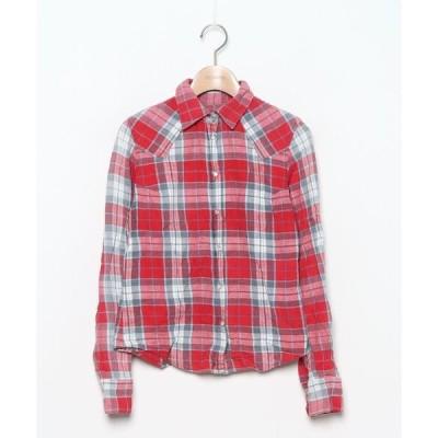 シャツ ブラウス チェック柄長袖ネルシャツ